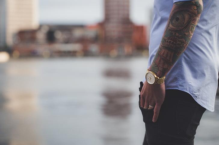 moda, tatuatges, home, mascle, estil de vida, estil, model de