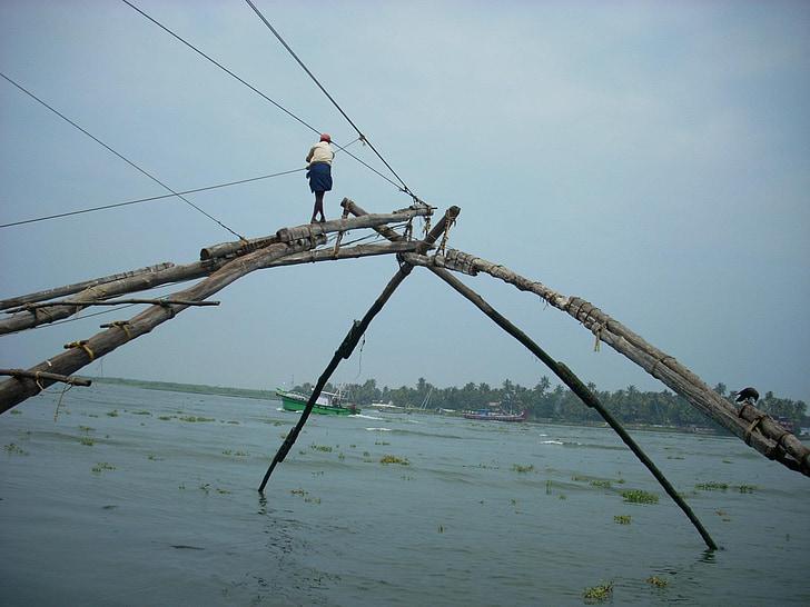 Kochi, Kalastamine, võrgud, Kerala, Hiina, NET, vee
