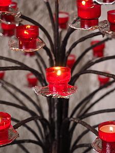 stearinlys, brænde, rød, lys, flamme, stearinlys, belysningsudstyr