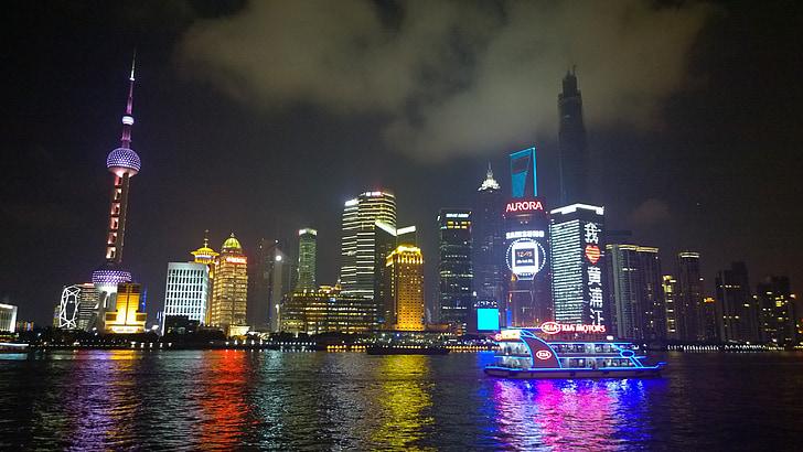Shanghai, il bund, vista di notte