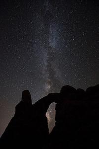 Arc de Marès, Arc de la torreta, Roca, nit, paisatge, silueta, cel