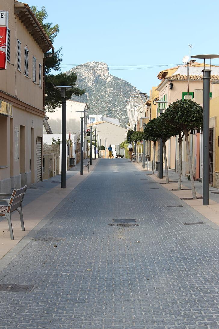 gājēju zona, pilsēta, Spānija, centrs, fasādes, vasaras, iepirkšanās iela