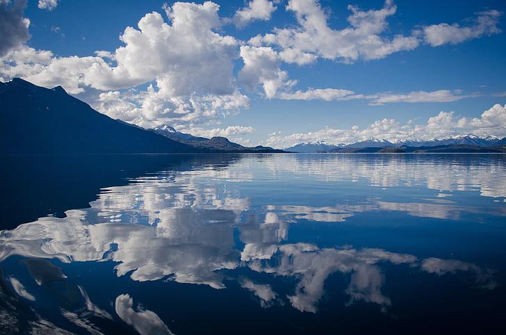 Lago, água, brilho, reflexão, espelho, céu, nuvens