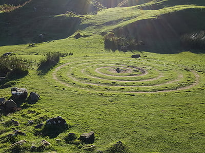 circles, green, nature, scotland, valley, spiral, landscape