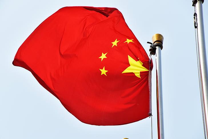 la bandera nacional xinesa, Bandera, Xina, vermell, Banner, m