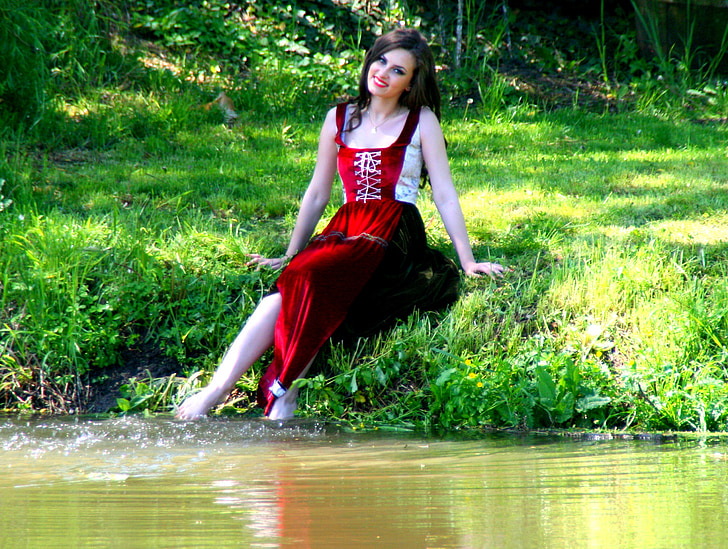 girl, lake, water, joy, nature