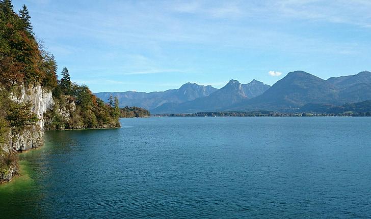 austria, lake, landscape, water, mountains, nature, alpine