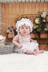 dziecko, dziecko, ładny, Dziewczyna, portret, Miś, maluch