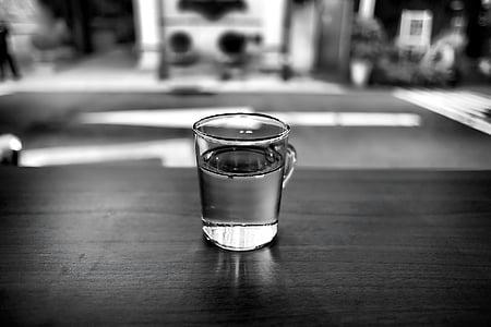 must-valge, jook, klaas, Makro, Tabel, vee, pubi