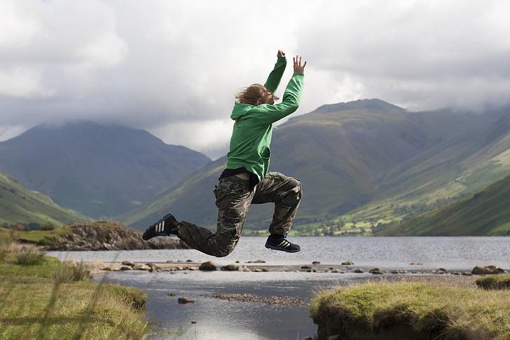 turons, saltant, Llac, muntanya, natura, persona, l'aigua