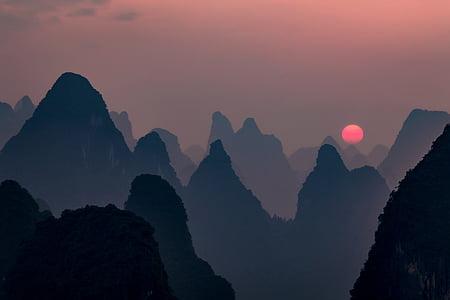 Захід сонця, ніч, Красивий, Гора, Сутінки, профіль, вечір