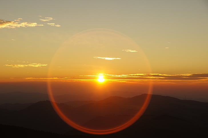salida del sol, montaña, apertura, anillo, contra el sol, Hochlantsch, morgenrot