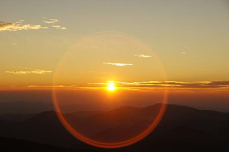 Napkelte, hegyi, rekesz, gyűrű, szemben nap, hochlantsch, Morgenrot