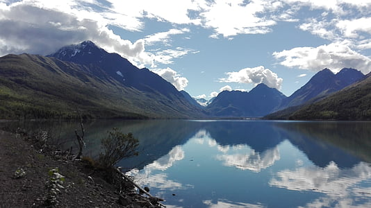 Alaska, paisatge, Mar, muntanyes, Reflexions, núvols