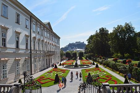 Vrtovi Mirabell, Salzburg, vrt, dvorac, Fontana, Austrija, parka