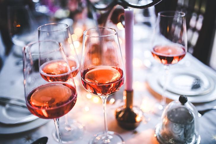 vino, rosa, vetro, occhiali, rosa, tavolo, sera