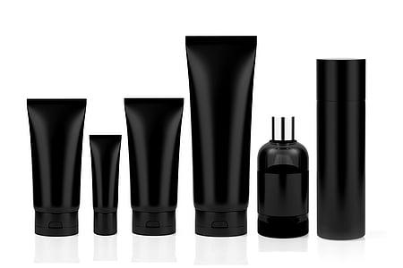 kozmetiky, nastaviť, trubice, parfum, fľaša, dezodorant, čierna