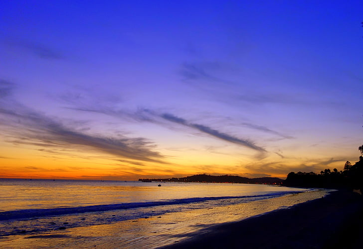 los angeles, praia, pôr do sol, Santa barbara, mar, luz, ao entardecer