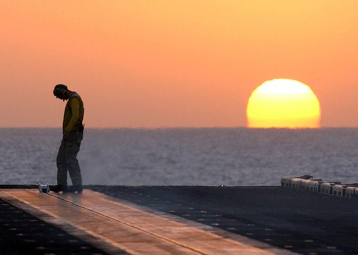 posta de sol, Mar, oceà, silueta, mariner, coberta, home