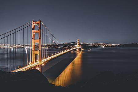 architecture, bridge, infrastructure, reflection, river, sea, suspension bridge