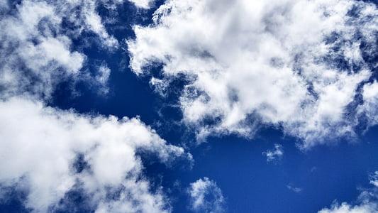 chmury, błękitne niebo, błękitne niebo chmury, na tle niebieskiego nieba, niebo chmury, Cloudscape, pochmurno