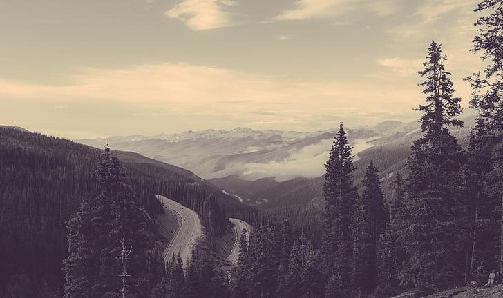 gore, nebo, megleno, narave, krajine, narava pokrajine