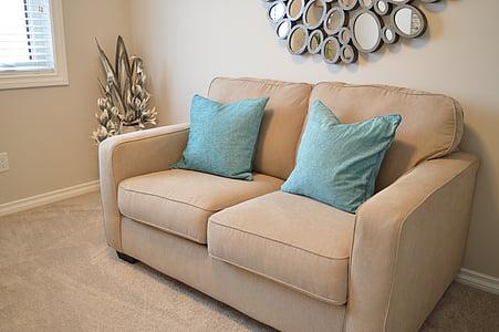seient d'amor, sofà, sofà, coixins, mobles, confort, còmode