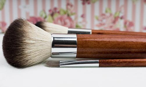 pinceau de maquillage, composent, brosse, maquillage, produits de beauté, application, poudre