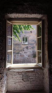 window, in the window, open, old, house, architecture, building Exterior