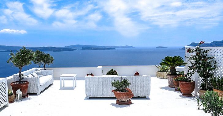 그리스, 바다, 바다 보기, 테라스, 산 토 리 니, 남쪽, 태양