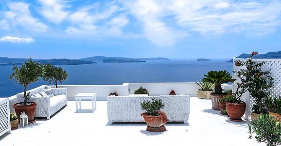 Grčka, more, pogled na more, terasa, Santorini, Jug, Sunce