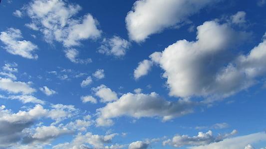 clouds, landscape, sky, blue, nature, weather, air