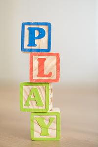 play, wooden, blocks, child, fun, game, playing