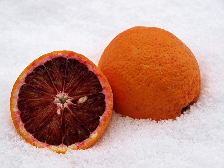 blood orange, citrus fruit, orange, snow, winter, cold, snow magic