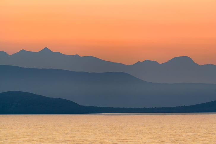 Grécia, montanhas, paisagem, mar, natureza, cenário, nascer do sol