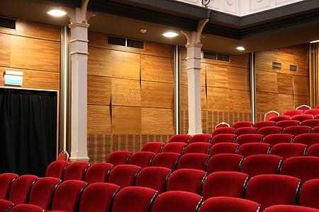 auditorium, chairs, comfortable, concert, empty, indoors, lights