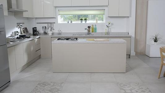 cuina, taula de menjador, paviments, pis, espai, casa interior, cuina domèstica