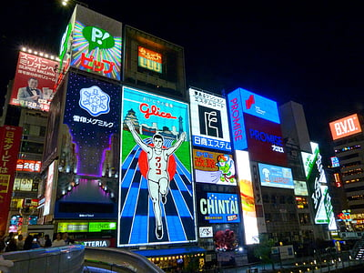neon light, japan, osaka, colors, buildings, colorful, signboards