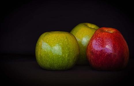 õunad, puu, punane, roheline, viljad hooaja, toidu, punane õun