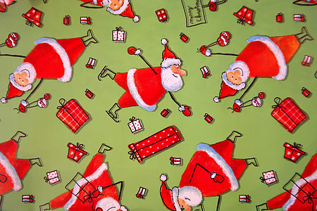 wrapping paper, santa clauses, funny, green, red, gift, made