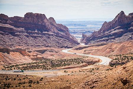 carretera, manera, muntanya, horitzó, salvatge, a l'exterior, paisatge
