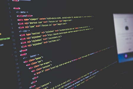 computer, computer code, screen, monitor, computer screen, programming, html