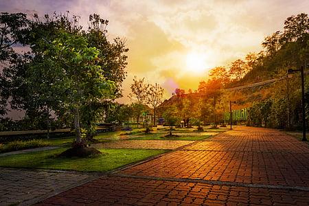 Príroda, západ slnka, stromy, Príroda, slnko, Sky, Slnečné svetlo