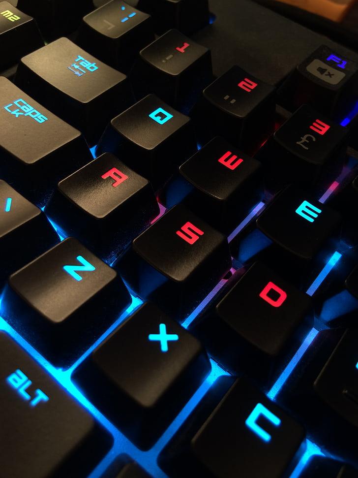 klávesnica, Gamer, počítač, Technológia, PC, online, Internet
