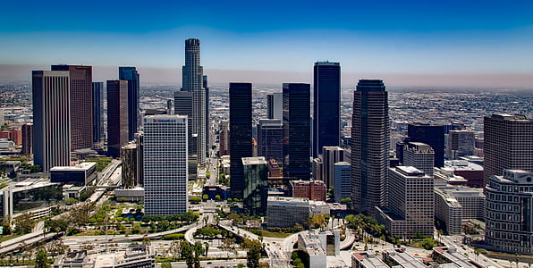 los angeles, california, skyline, downtown, architecture, cityscape, buildings