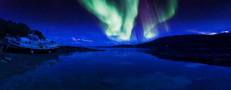 Skotland, Aurora, øen mull, Beach, Shore, nat, nordlige