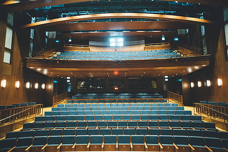 blue, seats, brown, wooden, surface, theater, auditorium