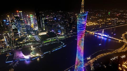canton, small pretty waist, tv tower, illuminated, night, city, cityscape