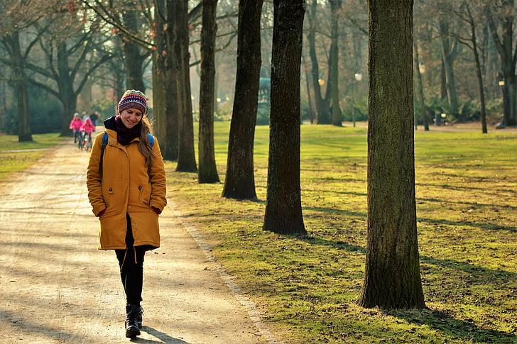 park, leisure, walk, winter, woman