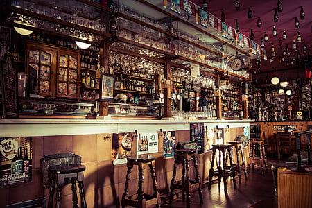 Bar, nápoje, nápoj, alkohol, víno, sklo, Stolička